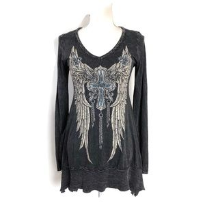Vocal Graphic Tee Dark Gray Angel Wing Sequin